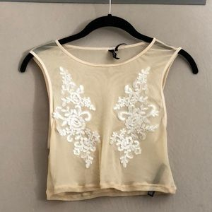 Embellished sheer urban outfitters crop top